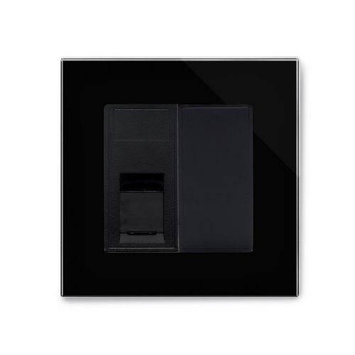RetroTouch Single RJ11 Phone Socket Black Glass PG 04094